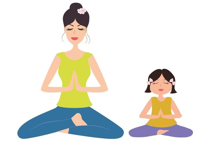 Yoga mother daughter-