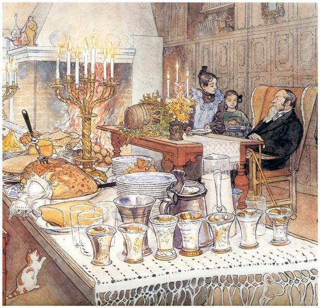 Dinner xmas carl larsson